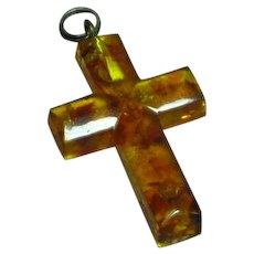 Amber Natural Genuine Honey Color Carved Cross Pendant Sterling Silver Pierced Earrings Set