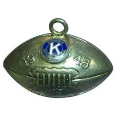 1948 Kiwanis International Football Enamel Sport Charm Sterling Silver Three-Dimensional