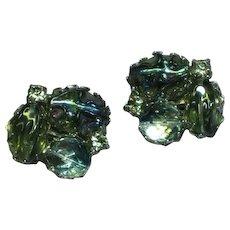 Vintage Schreiner Smoky Crystal Art Glass Rhinestone Earrings
