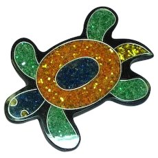 Inlay Composite Material Turtle Lucite Figural Pin Brooch