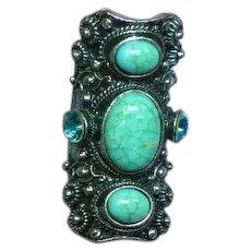 Art Glass Vintage Huge Chinese Tribal Fashion Ring