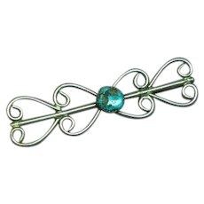 Native American Indian Navajo Crafted Sterling Silver Turquoise Long Pin Brooch