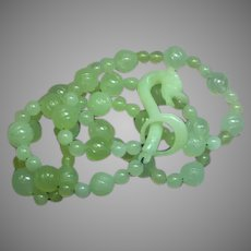 Translucent Hand Carved Natural  Green Jade Dragon Hook  Clasp Necklace