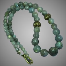 Exquisite Faceted Labradorite Large Beads Necklace