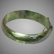 Sterling Silver Etched Floral Hinged Cuff Clamper Bangle Bracelet
