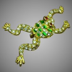 Rhinestones Plique Detailed Leaping FROG Pin Brooch