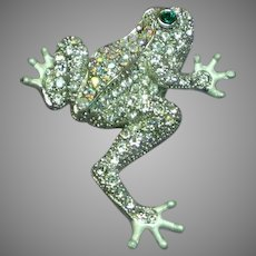 Vintage Pave Rhinestones Figural Frog Pin Brooch