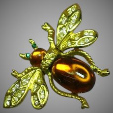 Jelly Belly Trembler Tremblant Big Bumble Bee Figural Brooch Pin