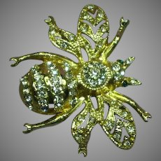 Rhinestones Bumble BEE Figural Insect Bug Brooch Pin