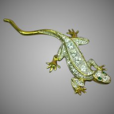 Magnificent Vintage Rhinestones Crystal Gecko Figural Lizard Pin Brooch