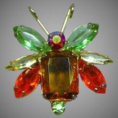 Juliana Delizza and Elster  D&E Bug Insect  Rhinestones Glitter Bug Pin Brooch