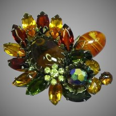 Schreiner Fabulous  Shades of Fall Rhinestones Art Glass Dimensional Pin Brooch