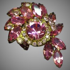 Stunning Juliana Tiered Dimensional Pink Headlight Rhinestone Pin Brooch