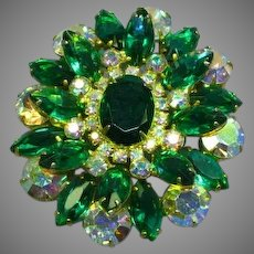 Spectacular Juliana D&E Vintage DeLizza & Elster Kelly Green Clear AB Rhinestone Pin Brooch