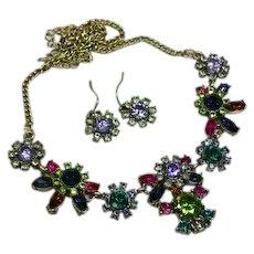 Mesmerizing Purple Green Pink Rhinestones Vintage Necklace Earrings Set Demi Parure