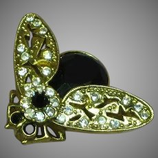 Gorgeous Rhinestone Bumble Bee Figural Insect Bug Pin Brooch