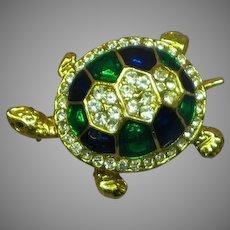 Vintage Rhinestones Enamel Figural Turtle Pin Brooch