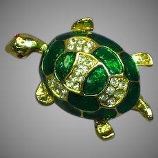 Vintage Rhinestones Gilloche Enamel Figural Turtle Pin Brooch