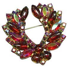 Juliana D&E Sparkling Red Jelly Belly AB Rhinestone Brooch Pin