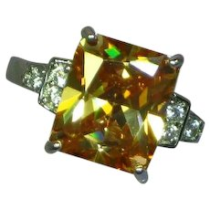 Sterling Silver Rhodium Plate Citrine Crystal  CZ Ring