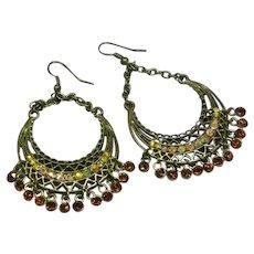 Vintage  Hoops Dangles Ethnic Tribal  Boho Statement Large Rhinestones Pierced Earrings