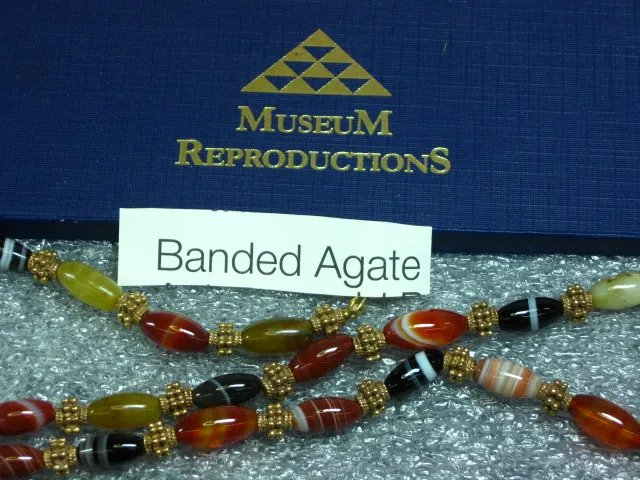 Gemstone Banded Agate Bead Gold Plated Museum Reproduction MIB Necklace