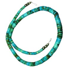 Native American Indian Hand Rolled Genuine Turquoise Necklace
