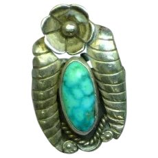 Native American Indian Navajo Sterling Silver Turquoise Ring