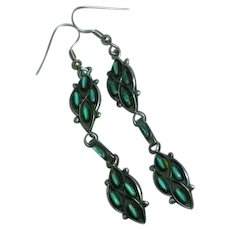 Native American Indian Sterling Silver Zuni Turquoise Needle Point Dangle Drop Pierced Earrings