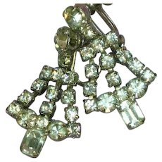 Elegant Rhodium Plate Rhinestone Screw Back Dangle Earrings
