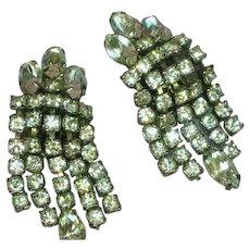 Weiss Signed Elegant Rhodium Plate Rhinestone Clip Dangle Earrings