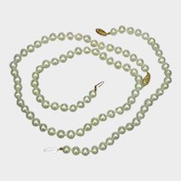 Stunning White Hand Knotted Cultured Akoya Pearls 14K Marked Clasp Necklace Bracelet Set