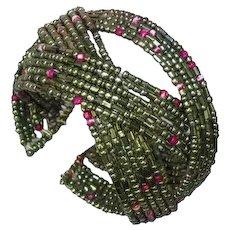 Fun Beaded Seed Bead Memory Wire Cuff Bracelet