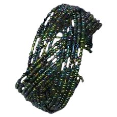 Fun Beaded Peacock Color Seed Bead Memory Wire Cuff Bracelet