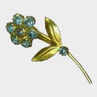 Sweet Powder Blue Rhinestones Flower Pin Brooch