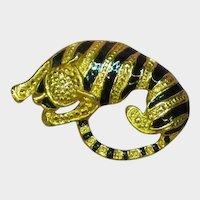 Black Enamel Tiger Figural Big Cat Eye Glass Holder Pin Brooch