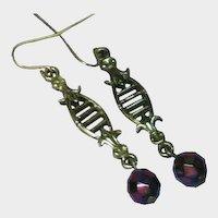 Carnival Glass Faceted Bead Drop Pierced Earrings