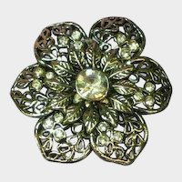 Bright Flower Rhinestones Silver Tone Pin Brooch