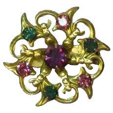 Prong Set Rhinestones Precious Gold Tone Snowflake Pin Brooch