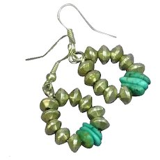 Native American Sterling Silver Bead Turquoise Dangle Drop Pierced Earrings