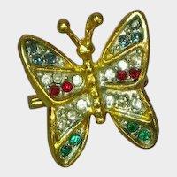 Precious Petite Rhinestones Butterfly Pendant Pin Brooch