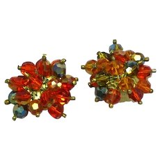 Glamorous Marvella  Signed Faceted Crystal Beads Amber Orange  Dangle Clusters Clip Earrings