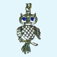 Awesome Articulated Owl Figural Silver Pendant Necklace
