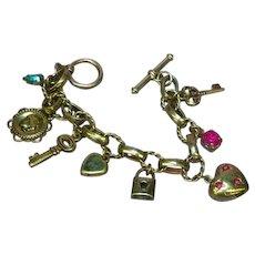 Charming Charms Heart Key Gold Tone Rhinestone Bracelet