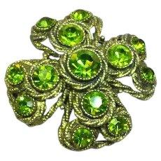 Fabulous HAR Signed Maltese Cross Peridot Green Rhinestones Vintage Pin Brooch