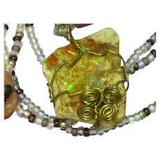 Stunning Raw Boulder Opal Wire Wrap Beaded Necklace