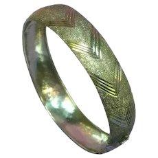 Sterling Silver Diamond Cut Chevron Design Hallmarked Bangle Bracelet