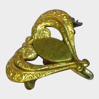 Gorgeous Gold Filled Watch Holder Locket Holder Antique Pin Brooch