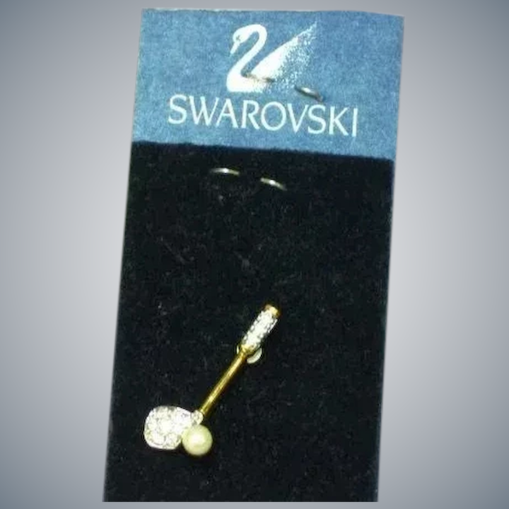 sale online attractivedesigns los angeles Swarovski Crystal Cultured Pearl Ball Golf Club Tie Tac Lapel Pin