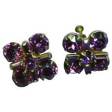 Purple Rhinestones Crystals Screw-back Earrings